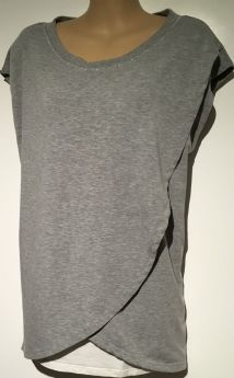 BLOOMING MARVELLOUS GREY WRAP OVER TSHIRT NURSING MATERNITY TOP SIZE 10-12